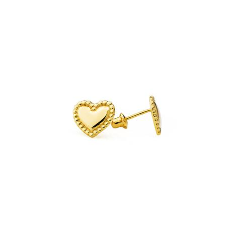3a127e22e98a2 Brinco de Ouro 18k Coração com Borda Bolinhas br21862 - Joiasgold ...