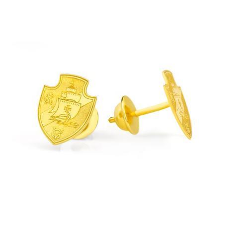 Brinco de Ouro 18k Escudo Vasco da Gama M br20431 - Joiasgold ... 74e6c5b89f8fc