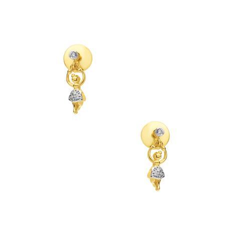 11dbf00991e52 Brinco de Ouro 18k Infantil Bailarina com Diamantes br22422 - Joiasgold