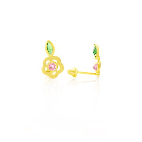 7a473d59968e9 Brinco de Ouro 18k Infantil Modelo Flor com Zircônias br20674 - Joiasgold