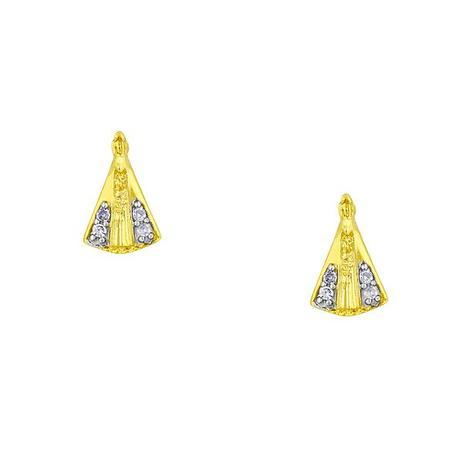 Brinco de Ouro 18k Nossa Senhora Aparecida com Diamantes br00181 - Joiasgold 6d49b3ddd5