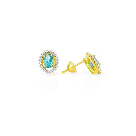 5c52592fcf0 Brinco de Ouro 18k Pedra Topázio Azul Oval br21101 - Joiasgold