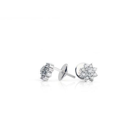e5ad1c238810a Brinco de Ouro Branco 18k Chuveiro Flor com Diamantes br22304 - Joiasgold