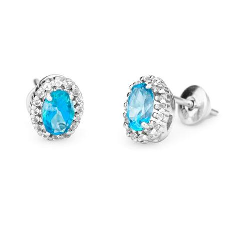 6f5262a322d62 Brinco de Ouro Branco 18k Pedra Topázio Azul Oval br19355 - Joiasgold
