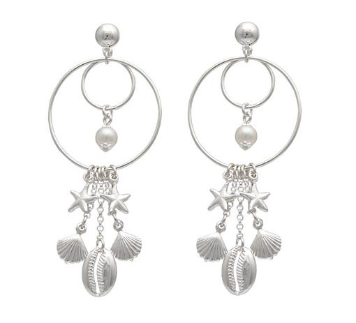 cb39c443b brinco prata 2 argolas fio com pérola e berloques - Romagnollo semi jóias
