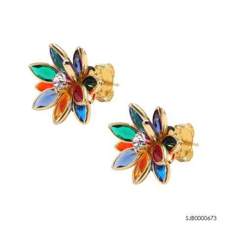 c6192cdb08470 Brinco semi-joia flor com pedras com banho de ouro 18k sjb0000673 ...