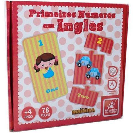 1f4d8661b59 Brinquedo Educativo - Primeiros Números em Inglês de Madeira - Brinc. de  Criança - Brinc.de criança