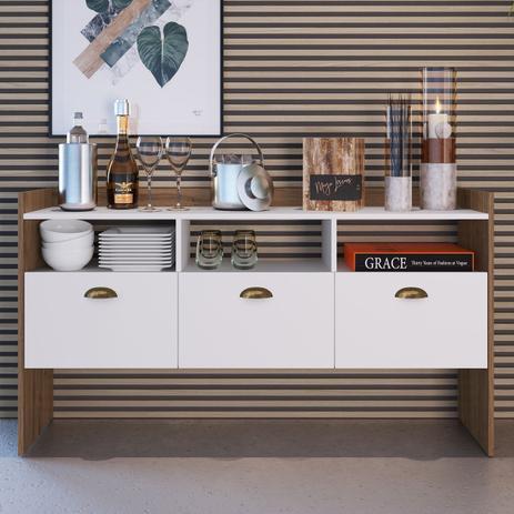 Imagem de Buffet Para Sala De Jantar Estilare Eiffel Brm41 Marrom E Branco
