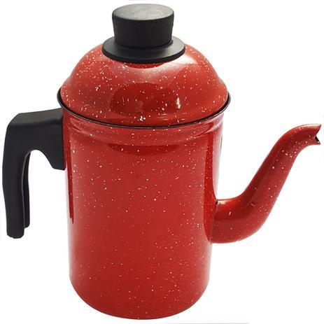 Imagem de Bule De Café Chá Ágata Esmaltado Retro 1,5 Litros Vermelho