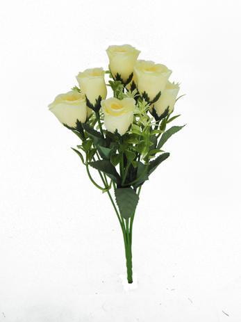 Imagem de Buquê Flor Artificial Botão de Rosa X7 Bege 25cm