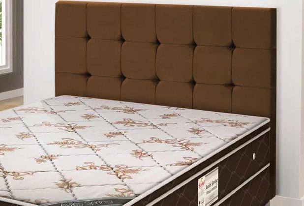 Imagem de Cabeceira Casal Estofada Slim 140cm Animale Chocolate Simbal