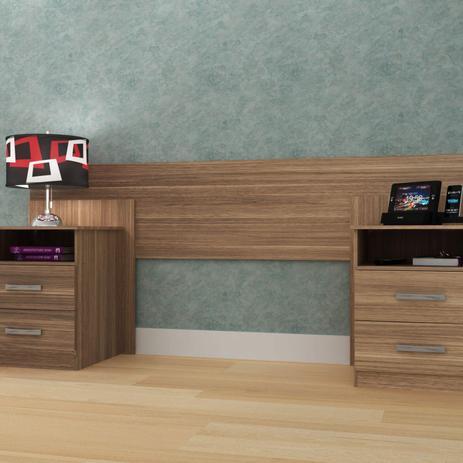 Imagem de Cabeceira de Casal Extensível com Mesa de Cabeceira e 4 Gavetas Elegance Espresso Móveis Demolição