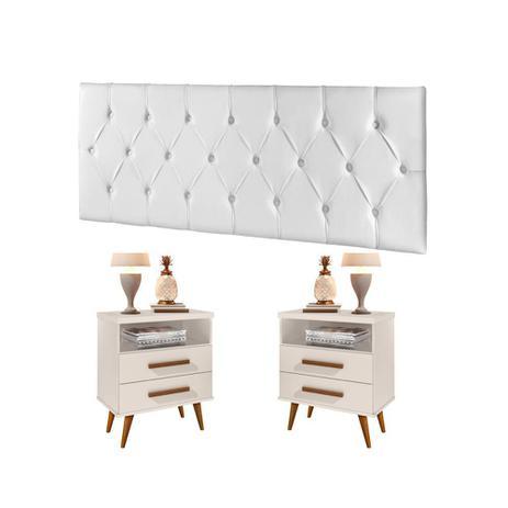 Imagem de Cabeceira Estofada Box Casal 140 cm Braco com Mesa de Cabeceira Alice Off White - E E Móveis