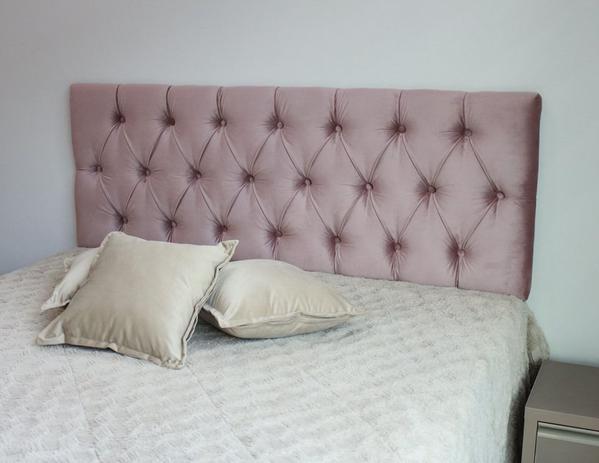 Imagem de Cabeceira Estofada de Casal Na Cor Rosa Nude com Painel de 1,40m x 50cm Botões Na Cor do Tecido