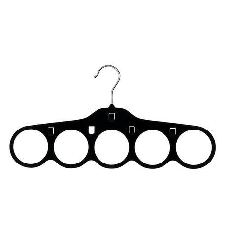 Cabide de veludo com 5 furos para gravatas e cintos 29,8x27,4x1,7cm - preto  cód. 8200 - Sigilo da beleza ltda - me 2a9a105321