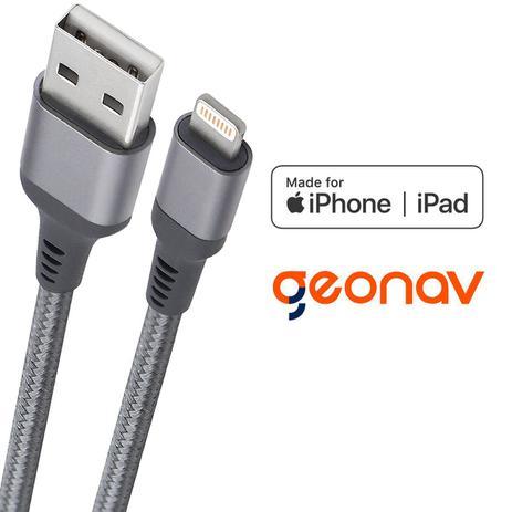 Imagem de Cabo carregador iPhone Lightning Geonav 1 metro - certificado MFI e reforçado