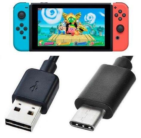 Imagem de Cabo Carregador Usb Compatível Com Nintendo Switch Usb Type C 3.1 Preto