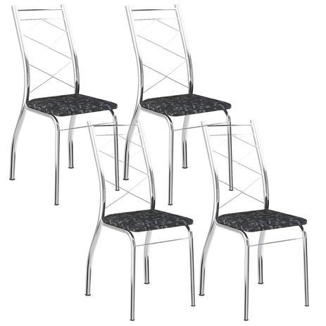 924b829b42 Cadeira 1710 Cromada 04 Unidades Fantasia Preto Carraro - Cadeiras ...
