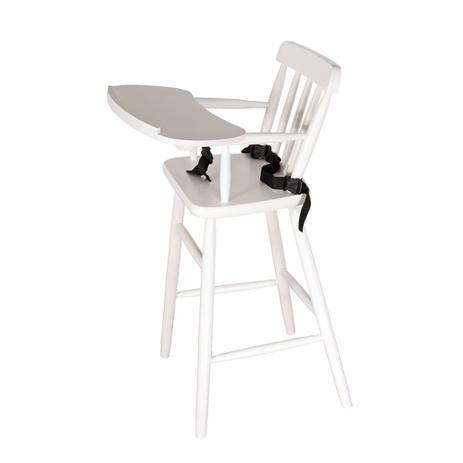 3b5e11f9f Cadeira de Alimentação Bebê com Cinto em Madeira - Branco - Deiss ...