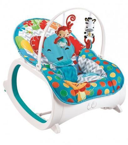 Imagem de Cadeira de descanso vibratória musical e com balanço safari Azul até 18kgs - Colorbaby