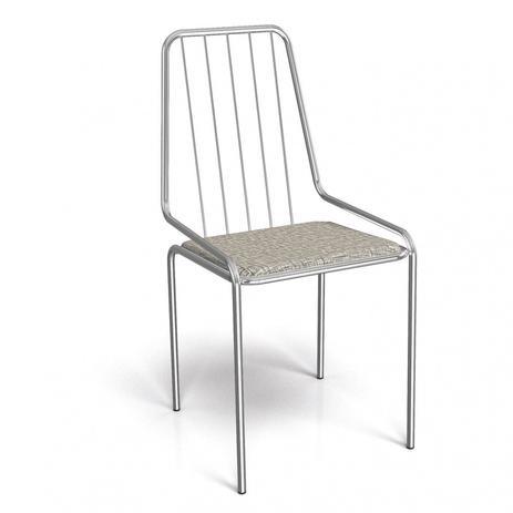 Imagem de Cadeira de Ferro Benim Crome Kappesberg Cromado/Linho Marrom