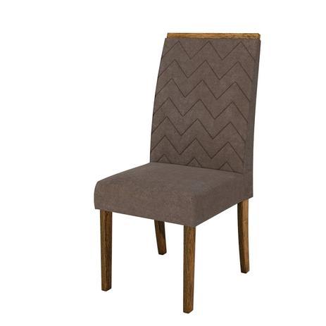 Imagem de Cadeira de Jantar Estofada Áurea (kit 2 unidades) DJ Móveis(DemoliçãoSuede Pena Marron)