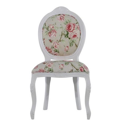 Imagem de Cadeira de Jantar Medalhão Entalhada Liso Branco Fosco com Grace Pêssego