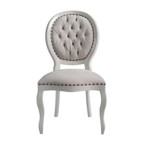 Imagem de Cadeira de Jantar Medalhão Lisa Sem Braço Com Tachas - Wood Prime 15619
