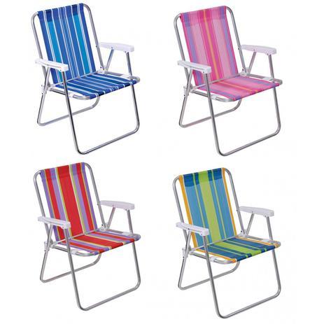Imagem de Cadeira de Praia Alta Aluminio Mor Cores Sortidas