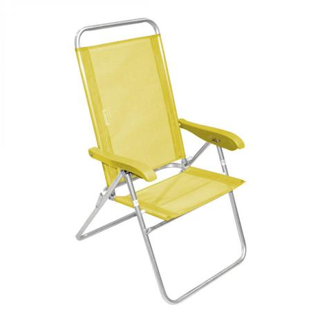d065c99cf66f Cadeira de Praia Encosto Alto Reclinável Alumínio Sanet Ronchetti Amarelo