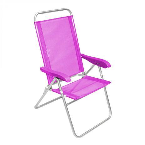 09ade2e9a32e Cadeira de Praia Encosto Alto Reclinável Alumínio Sanet Ronchetti Rosa