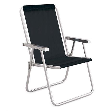 6781e35cb84f Cadeira De Praia Preta Alumínio Conforto 110kgs Mor - Metalúrgica mor