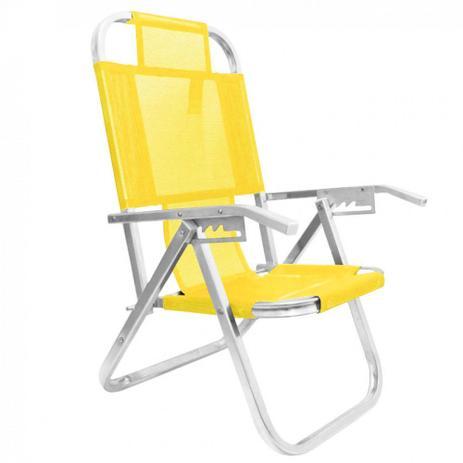 9b4c66372eda Cadeira de Praia Reclinavel 5 Posicoes em Aluminio Ipanema Amarela Botafogo