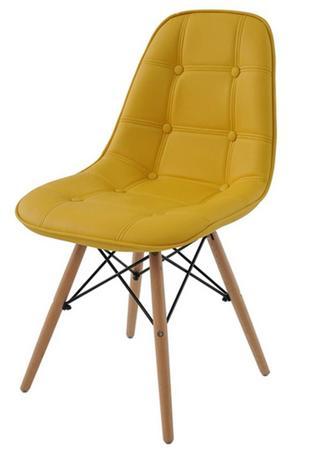 Imagem de Cadeira Eames Eiffel Botone Amarela Base Madeira - 27464