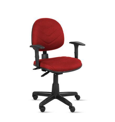 Imagem de Cadeira exec. spote ergonômica c/costura base giratória c/braço regulável-tecido crepe vermelho-pp100
