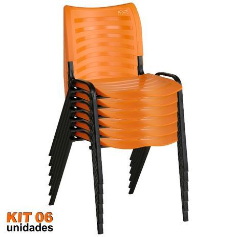 Imagem de Cadeira ISO Plástica (Kit 06) Para Igrejas, Sorveterias, Restaurante - LARANJA - KASMOBILE