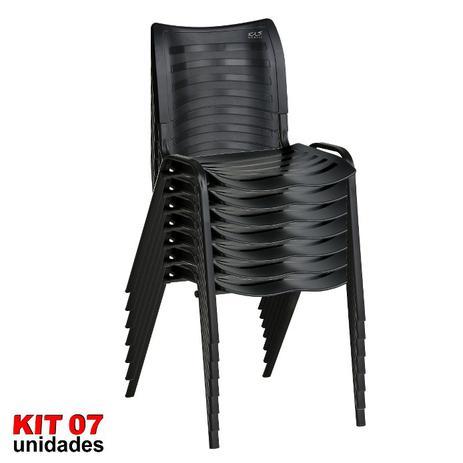 Imagem de Cadeira ISO Plástica (Kit 07) Para Igrejas, Sorveterias, Restaurante - PRETA - KASMOBILE