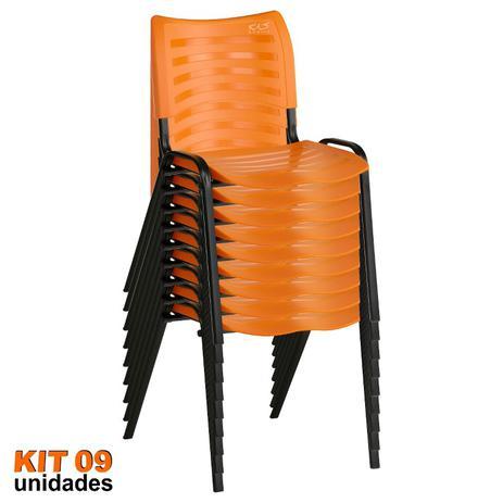 Imagem de Cadeira ISO Plástica (Kit 09) Para Igrejas, Sorveterias, Restaurante - LARANJA - KASMOBILE