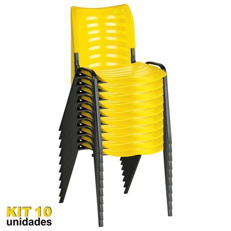 Imagem de Cadeira ISO Plástica (Kit 10) Para Igrejas, Sorveterias, Restaurante - AMARELA - KASMOBILE