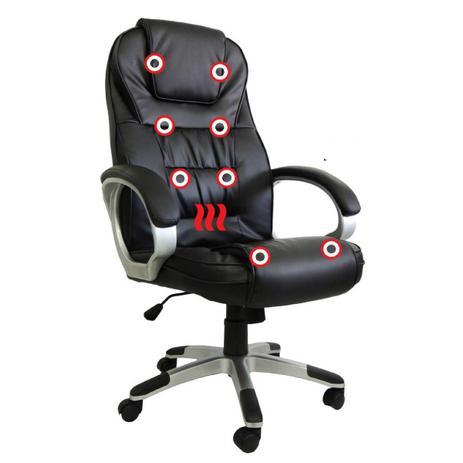 Cadeira Presidente em Couro PU PEL-C2652 Preta com Massagem e Aquecimento - Pelegrin