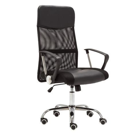 596e4e493 Cadeira Presidente Giratória Tela Mesh Preta CDE-02-1B Trevalla ...