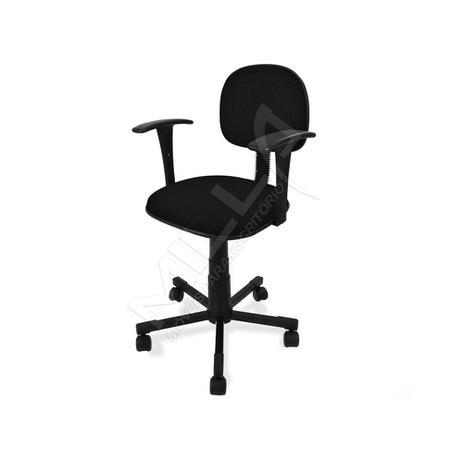 Imagem de Cadeira secretaria giratoria e braço fixo - tecido preto