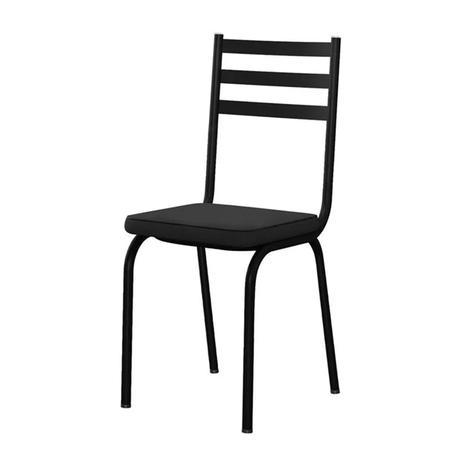 Imagem de Cadeira Tubular Preto Fosco 118 Assento Preto