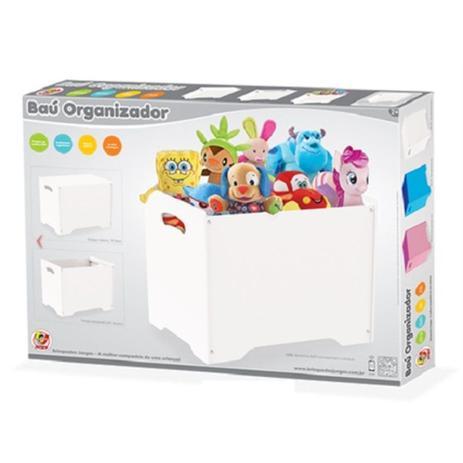 Imagem de Caixa bau banquinho organizador de brinquedos ursinhos pelucias roupas organização de quarto infantil do bebê em madera branco junges