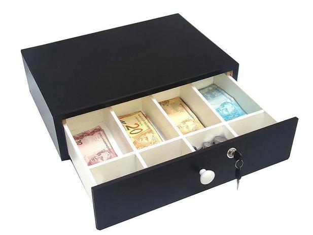 Imagem de Caixa De Dinheiro Niqueleira Gaveta Noteiro Preta Com Chave