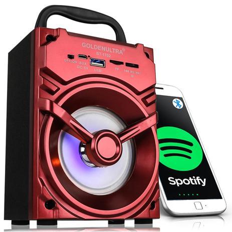 Imagem de Caixa De Som Bluetooth Portátil 10w Mp3 Usb Rádio Fm Sd Aux Vermelha Y