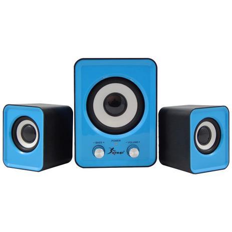 Imagem de Caixa de Som Bluetooth Subwoofer 2.1 6W Kp-7023 Azul