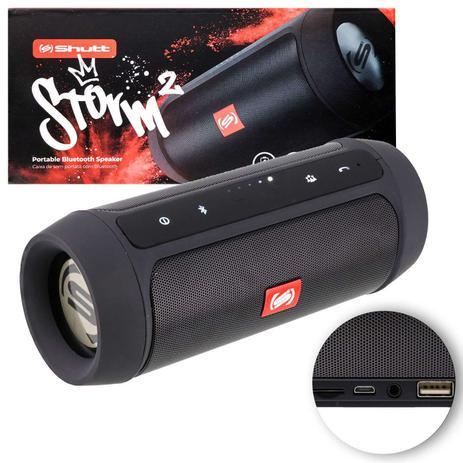 Imagem de Caixa de Som Portátil Bluetooth Wireless USB Micro SD Auxiliar P2 Rádio FM 15W Storm 2 Preto Shutt