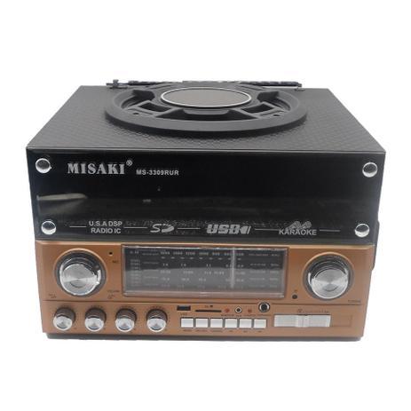 Imagem de Caixa de som radio retro usb micro sistem com gravador fm, am sd com controle 10 bandas profissional