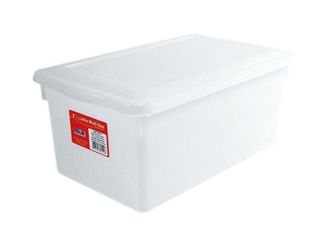 Imagem de Caixa Organizadora Plástico com Tampa Branca 8 L Bioprátika Pleion - PLE 029